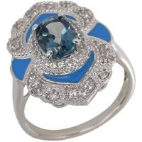 Ring 925 Silber London Blue Topas behandelt