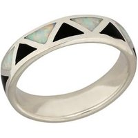 Ring 925 Sterling Silber Opal Doublette, Onyx