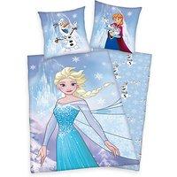 Kinderbettwäsche Disney's Die Eiskönigin, Frozen Flanell, 80 x 80 cm + 135 x 200 cm blau