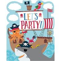 8 Einladungskarten mit Umschlägen Ahoy Birthday