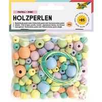 Holzperlen PASTELL, 86 Teile, 84x Perlen sort. & 2x Schnüre à 85cm bunt