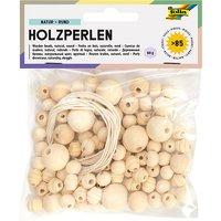 Holzperlen NATUR, 86 Teile, 84x Perlen sort. & 2x Schnüre à 85cm natur