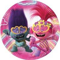 Pappteller Trolls II World Tour 23cm, 8 Stück mehrfarbig