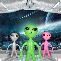 1 x Alien aufblasbar Wasserspielzeug Marsmännchen pink Aufblasalien Party Deko