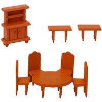 Puppenhaus Möbel Set - Esszimmer Puppenmöbel - Holz Zubehör braun