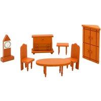Puppenhaus Möbel Set - Sitzecke Puppenmöbel - Holz Zubehör braun