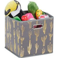 Quadratische Faltbox mit Kaktus Motiv grau