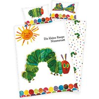 Wende- Kinderbettwäsche Kleine Raupe Nimmersatt, Linon, 135 x 200 cm weiß