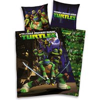 Wende- Kinderbettwäsche Teenage Mutant Ninja Turtles, Linon, 135 x 200 cm schwarz
