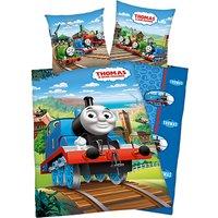 Wende- Kinderbettwäsche Thomas und seine Freunde, Renforcé,135 x 200 cm blau