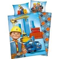 Wende- Kinderbettwäsche Bob der Baumeister, Renforcé, 100 x 135 cm blau