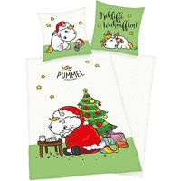 Wende- Kinderbettwäsche Pummeleinhorn Weihnachten weiß Gr. 135 x 200