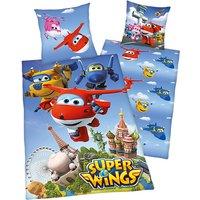 Wende- Kinderbettwäsche Super Wings, Renforcé, 135 x 200 cm blau