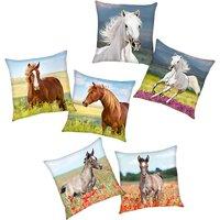 Wende- Kuschelkissen Pferde, 40 x 40 cm mehrfarbig