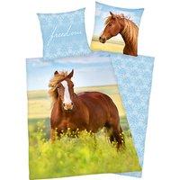 Wende- Kinderbettwäsche Pferd, Renforcé, 135 x 200 cm blau