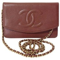 MINT. Vintage CHANEL brown caviar leather shoulder clutch bag with golden chain and stitch mark. Classic wallet. Can be iPhone case., Brown