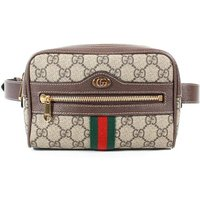 'Gucci Ophidia Belt Bag Gg Monogram Red & Green Stripe Web Adjustable Size, Nude & Neutrals