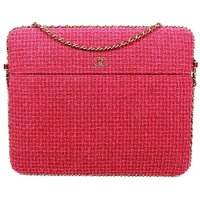 Chanel Pink Tweed Large Crossbody Bag Rare Cc Laptop Ipad Chain Around Flap, Pink