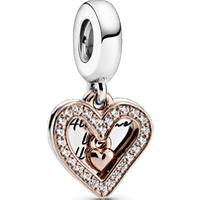 Charm Colgante Corazón resplandeciente Recubrimiento en Oro Rosa de 14k Talla única Zirconia cúbica