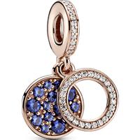 Charm colgante doble disco azul brillante Recubrimiento en Oro Rosa de 14k Talla única Piedras mezcladas