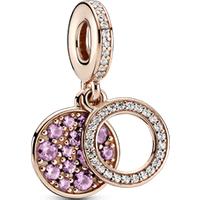 Charm colgante doble disco rosa brillante Recubrimiento en Oro Rosa de 14k Talla única Piedras mezcladas