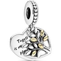 Charm colgante dos tonos colgante Corazón de Árbol Genealógico Talla única Zirconia cúbica