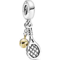 Charm colgante Raqueta y pelota de tenis Recubrimiento en Oro de 14k Talla única Sin gema