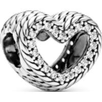 Charm corazón abierto de cadena de serpiente Talla única Zirconia cúbica