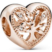 Charm corazón calado Árbol de familia Recubrimiento en Oro Rosa de 14k Talla única Zirconia cúbica