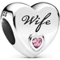 Charm Corazón de amor Esposa Talla única Zirconia cúbica