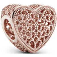 Charm Corazón de filigrana y cuentas Recubrimiento en Oro Rosa de 14k Talla única Sin gema
