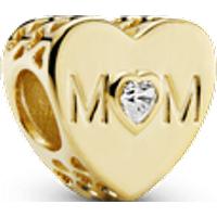 Charm Corazón de mamá Recubrimiento en Oro de 14k Talla única Zirconia cúbica