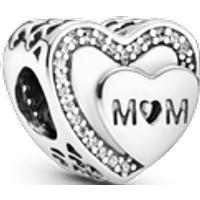 Charm Corazón de mamá resplandeciente Talla única Zirconia cúbica