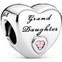Charm Corazón de nieta Talla única Zirconia cúbica