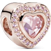 Charm Corazón rosa reluciente Recubrimiento en Oro Rosa de 14k Talla única Cristales