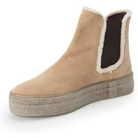 Ankle Boots In 100% Leather Faux Fur Trim Bogner Brown