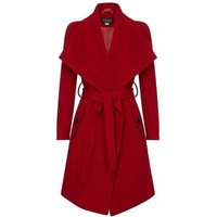Anastasia  Winter Wool Cashmere Wrap Coat with Large Collar  womens Trench Coat in Red