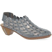 Rieker  Sina Leather Woven Heeled Shoes  women's Sandals in Blue