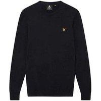Lyle   Scott  Crew Neck Cotton Merino Jumper  men's Sweater in Blue
