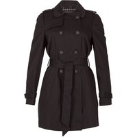 David Barry  - Black Womens Short Belted Trench Coat  women's Trench Coat in Black
