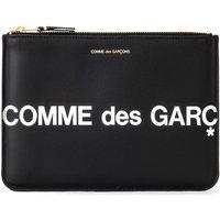 Comme Des Garcons  Huge Logo Sachet in black leather  womens Purse wallet in Black