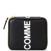 Comme Des Garcons  Wallet Huge Logo in black leather  womens Purse wallet in Black