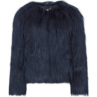 Anastasia  Navy Dawn Luxe Faux Mongolian Faux Fur Jacket  womens Coat in Blue