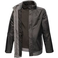 Professional  Contrast Waterproof Softshell Inner 3 in 1 Jacket Black  mens Coat in Black