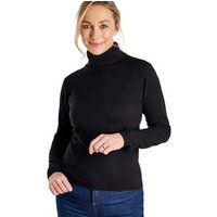 Woolovers  Cashmere and Merino Fitted Polo Neck Knitted Jumper  women's Sweater in Black
