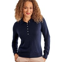 Woolovers  Cashmere and Merino Knitted Polo Shirt  women's Polo shirt in Blue