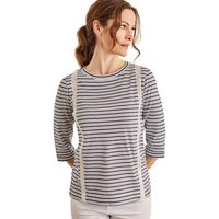 Woolovers  Cotton 3/4 Sleeve Lace Insert Top  womens Blouse in Blue