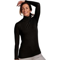 Woolovers  Slim Polo Neck Top  womens Sweater in Black