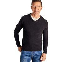 Woolovers  Cashmere and Merino V Neck Knitted Sweater  men's Sweater in Black