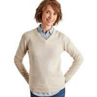 Woolovers  Lambswool V Neck Jumper  womens Sweater in Beige